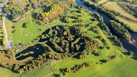 Aerial of outdoor centre, golf course & fishery, a